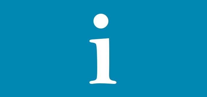 Ein Bild mit einem I, das darstellen soll, dass es um Informationen geht.